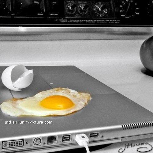 Laptop overheating funny picture