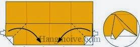Bước 6: Từ vị trí mũi tên, mở lớp giấy trên cùng ra, kéo và gấp lớp giấy vào trong.