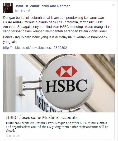 HSBC tutup akaun orang Islam yang menyokong Gaza