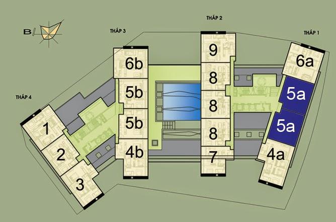 Vị trí căn hộ CH5A- 156m2 trên mặt bằng căn hộ Dolphin Plaza