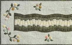 Table runner quilt and YoYo flowers