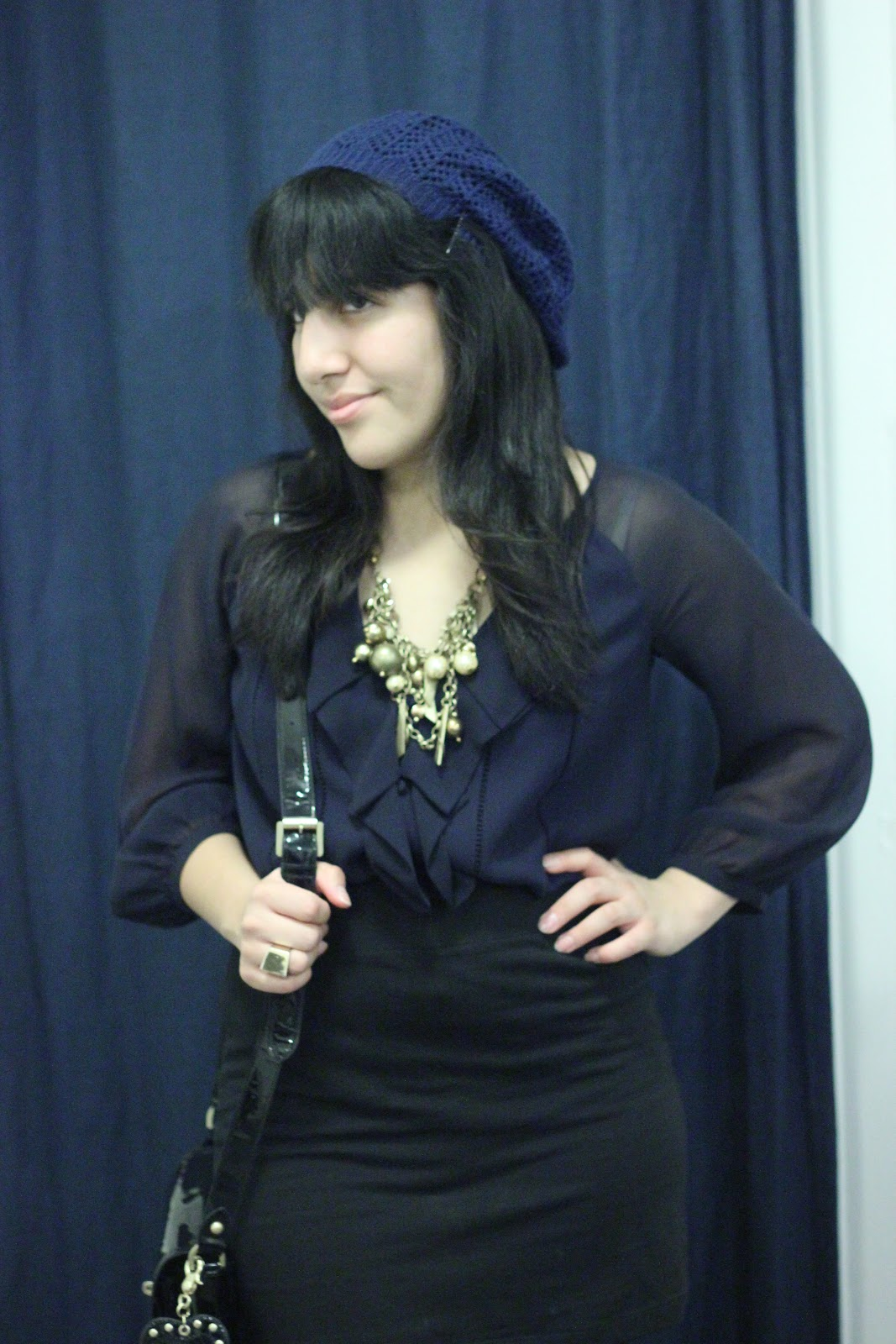Navy and Black Date Nite Look