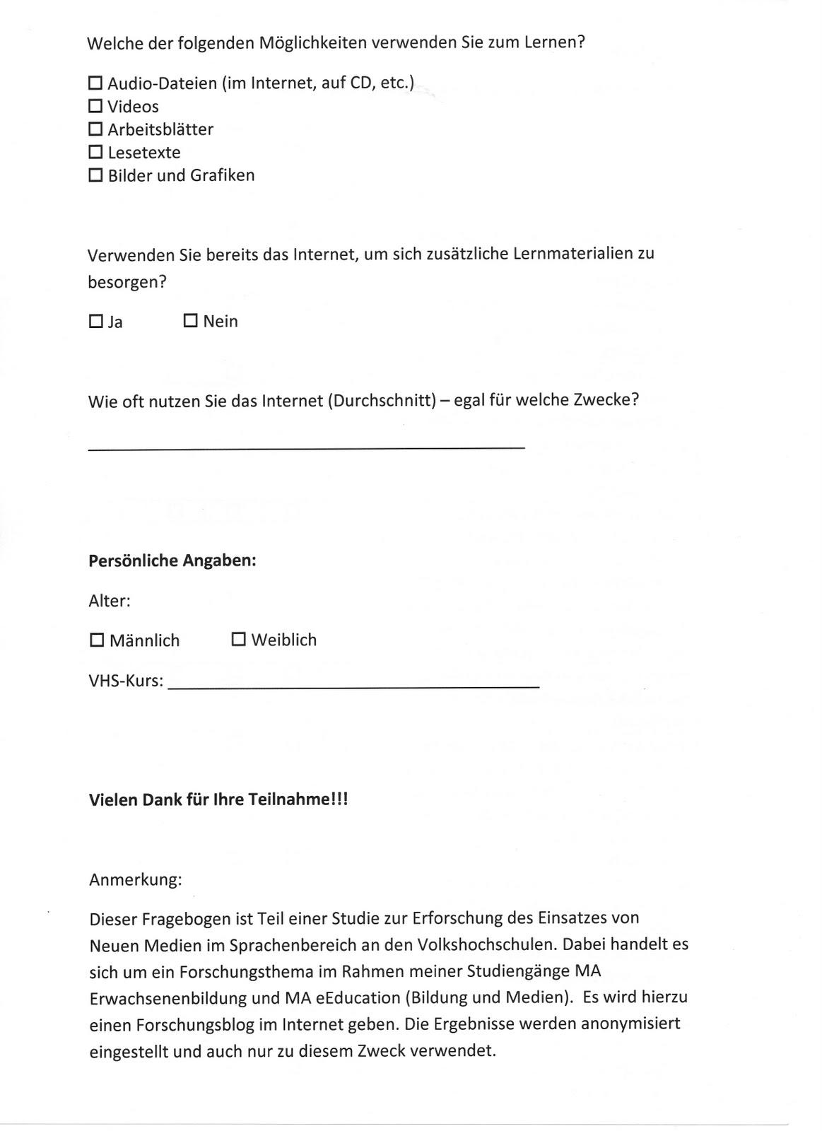 Modernes Lehren von Sprachen in der Erwachsenenbildung: Fragebogen ...