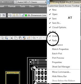 Cara menampilkan tombol undo dan redo di AutoCAD.