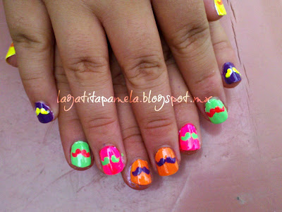 neon mustache nails
