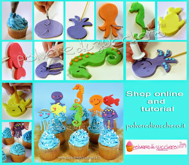 tutorial cupcakes estivi con decori marini: medusa, polipo, cavalluccio marino e pesce in pasta di zucchero