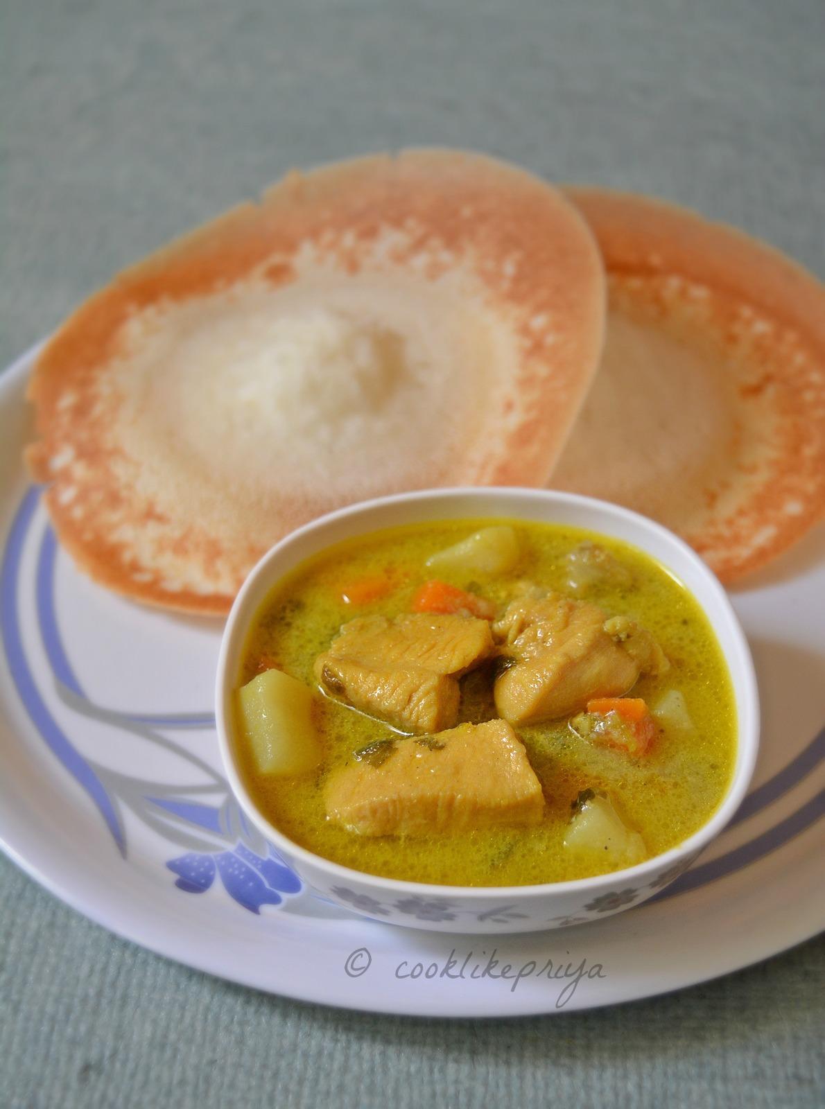 Chicken coconut milk curry for appam/ idiyappam