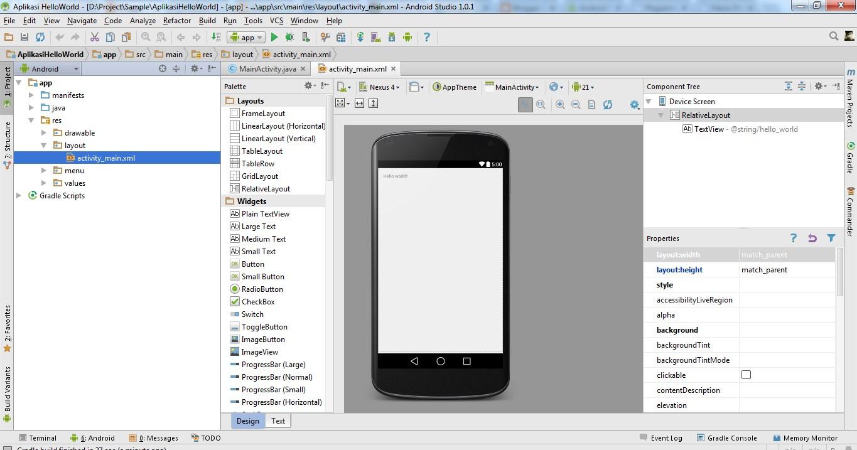 Cara Membuat Aplikasi Android Hello World Pertama di Android Studio