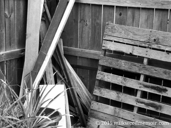 scrapwood by fence, los fresnos, texas
