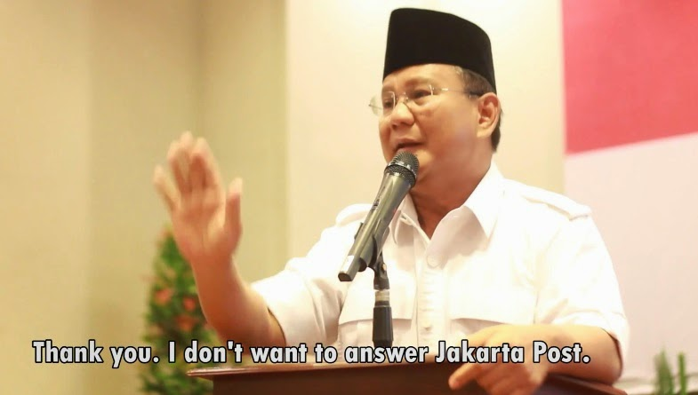 Prabowo Angry and Do Not Want to Answer Questions Reporters Jakarta Post