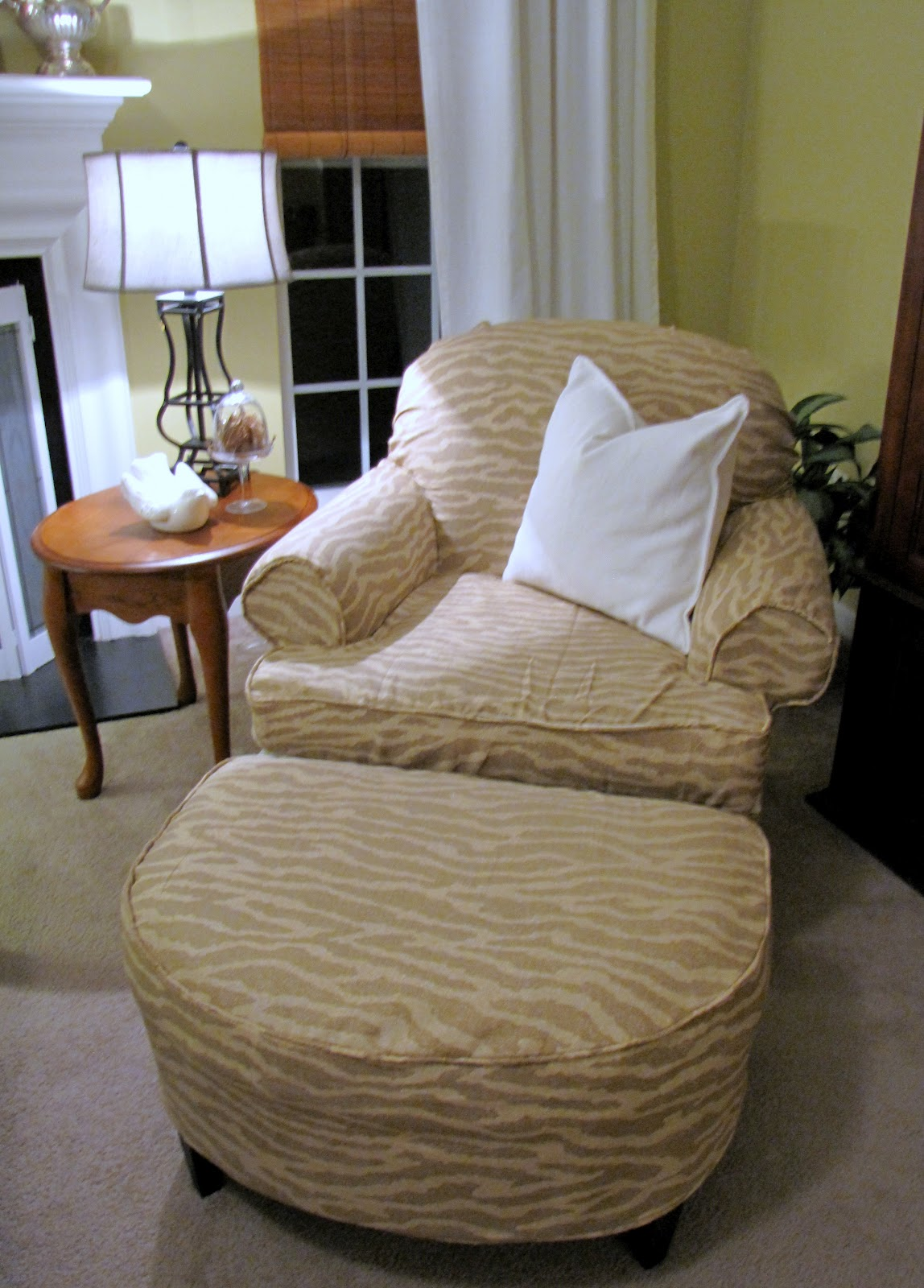 blog armchair and ottoman slipcover tutorial including how to make a pattern
