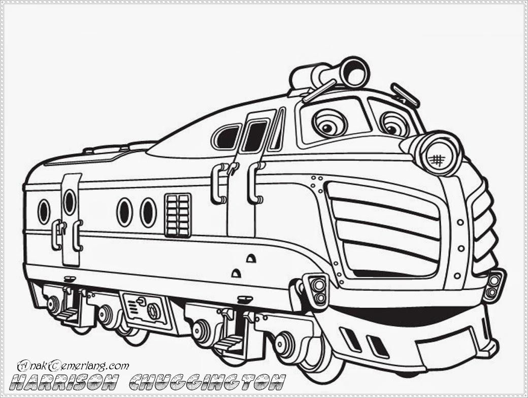 mewarnai gambar tokoh kartun kereta chuggington