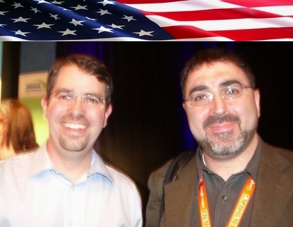 Sam Bazzi of Arcs, right, with Matt Cutts of Google at SMX West