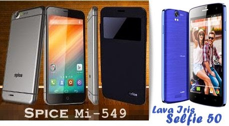 Compare Lava Iris Selfie 50 with Spice Mi-549 - Specs and Price