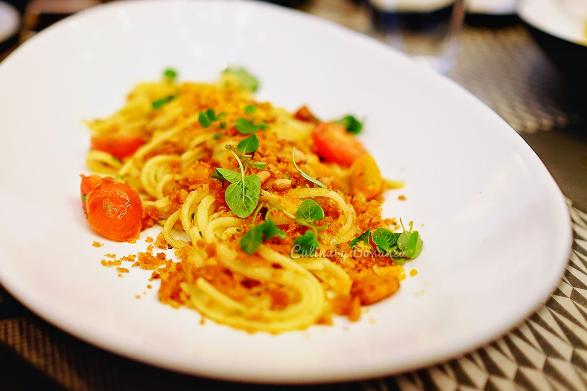 Bottarga - tuna botarga, linguine aglio olio, cherry tomatoes, parsley, sicilian crumbs (source www.culinarybonanza.com)