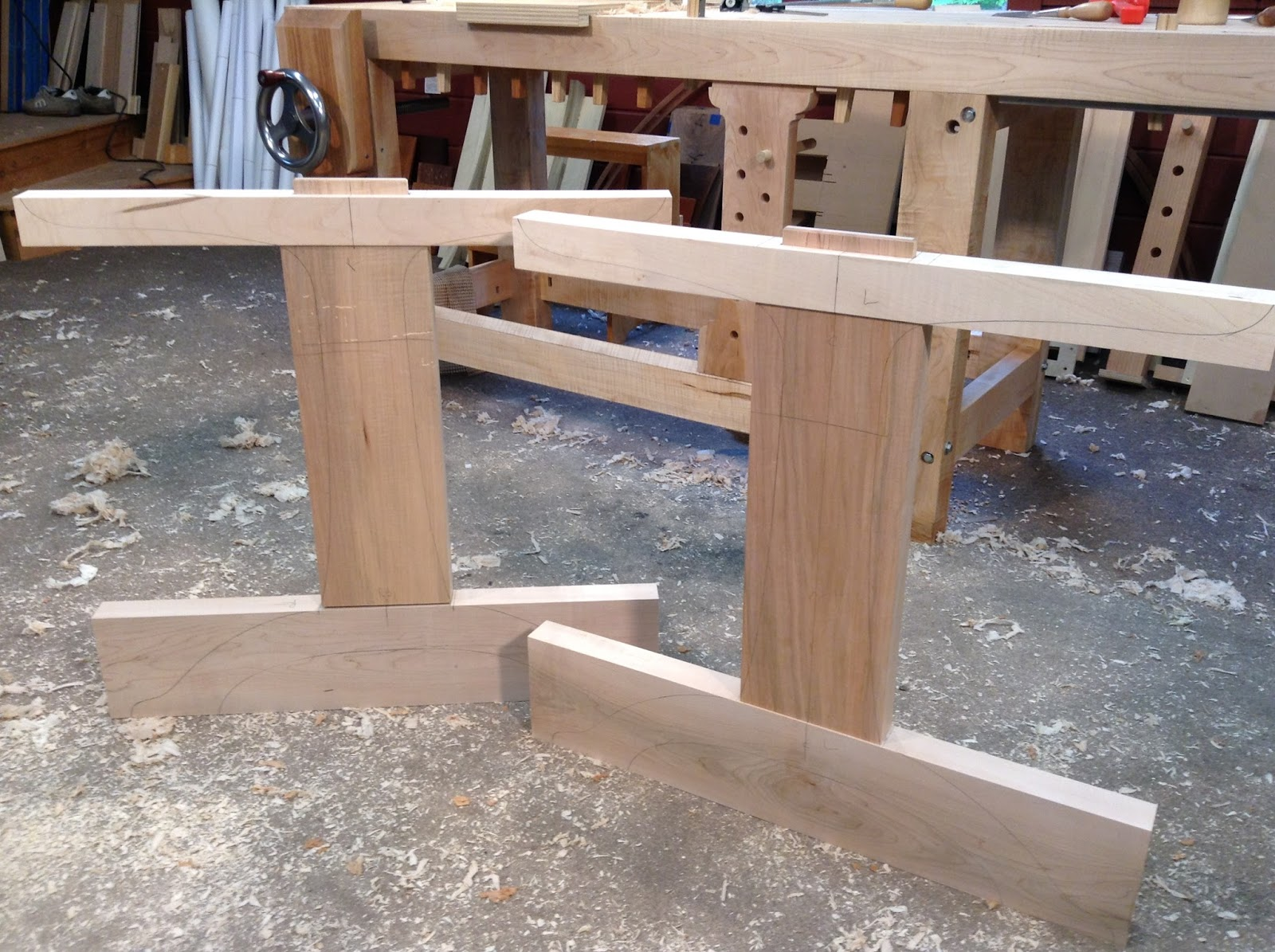 trestle table base before shaping