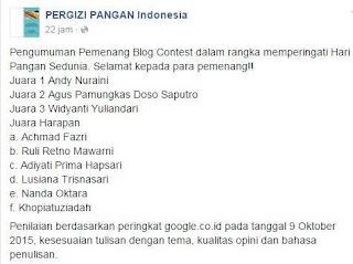 Daftar Pemenang Blog Contest Hari Pangan Sedunia ke 35