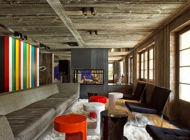 Striped Living Room Wall Painting Ideas, Wooden Lounge With Multicolored  Striped Wall Part 42