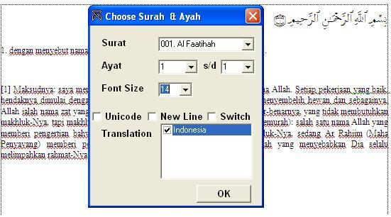 untuk menambahkan ayat alquran dengan text arab dan terjemahannya