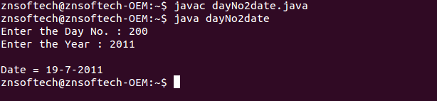 Java code to read day number and year its corresponding date