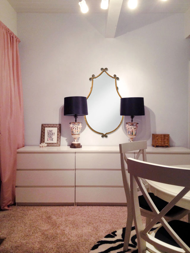 vanity table and vintage italian lamps