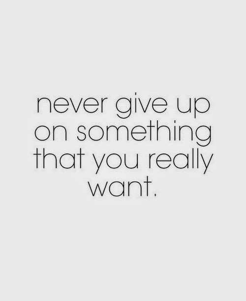 never give up on something that you really want saying