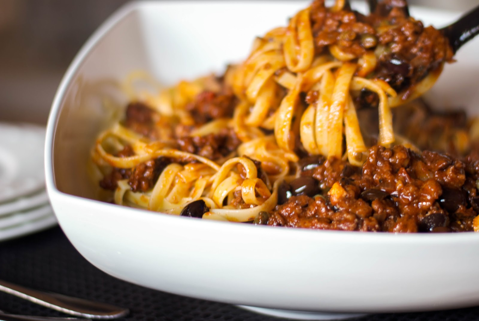 Fettuccine with Sausage Puttanesca Sauce - Carrie's ...