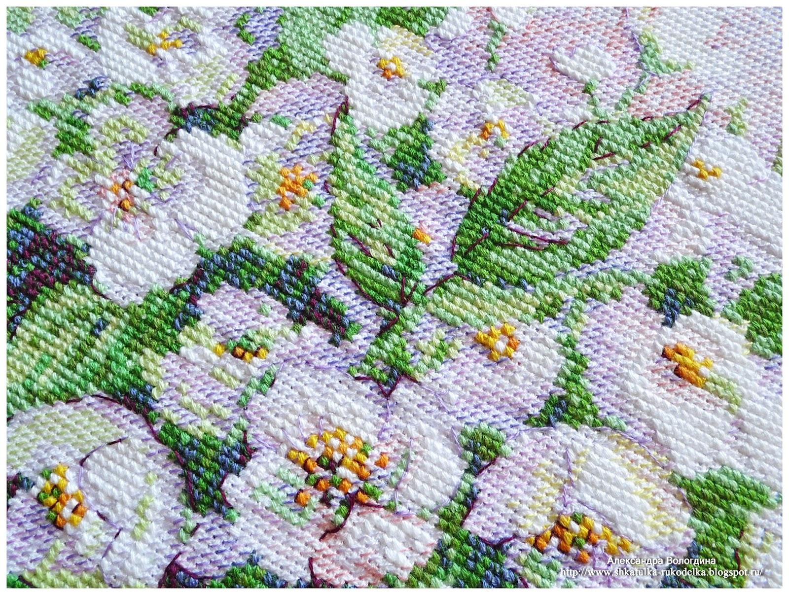 Акварельный жасмин вышивка