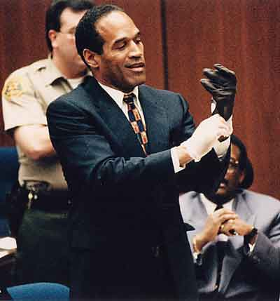 O.J. Simpson wearing glove