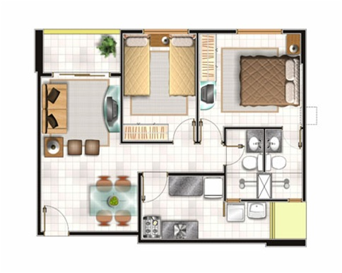 2 Bedroom 1 Bath Apartment Plans
