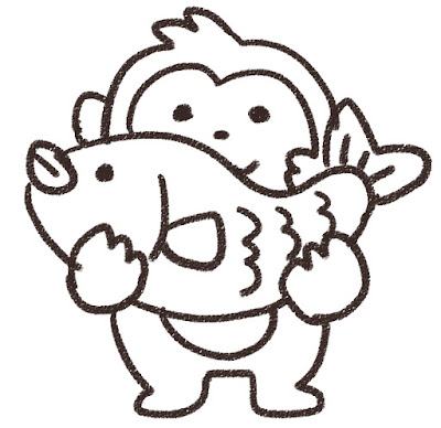 鯛を持つ猿のイラスト(申年)モノクロ線画