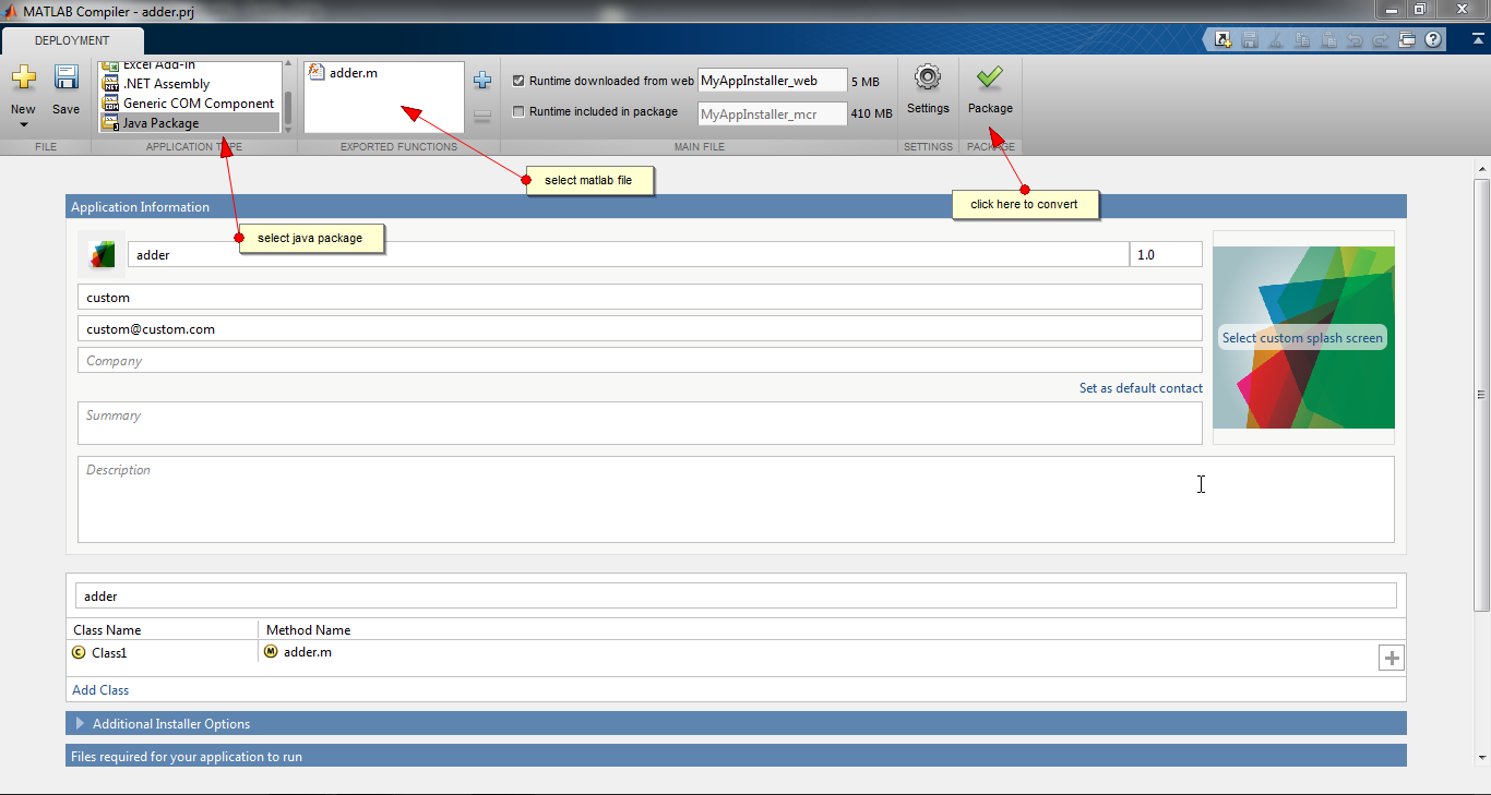 Using Java Package Compiler in Matlab