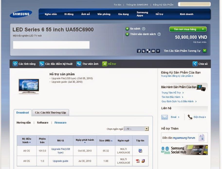 Hướng dẫn nâng cấp phần mềm cho HDTV Samsung 1