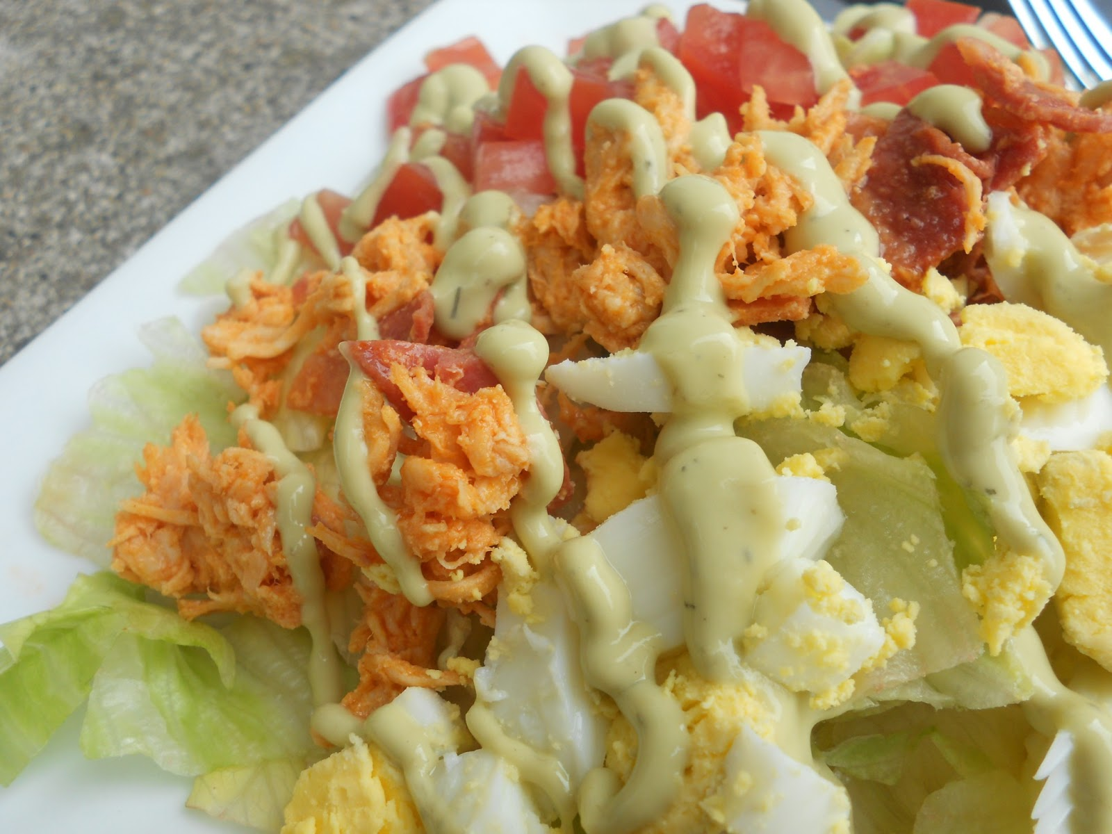 ... Savory Eats: Buffalo Chicken Cobb Salad with Creamy Avocado Dressing