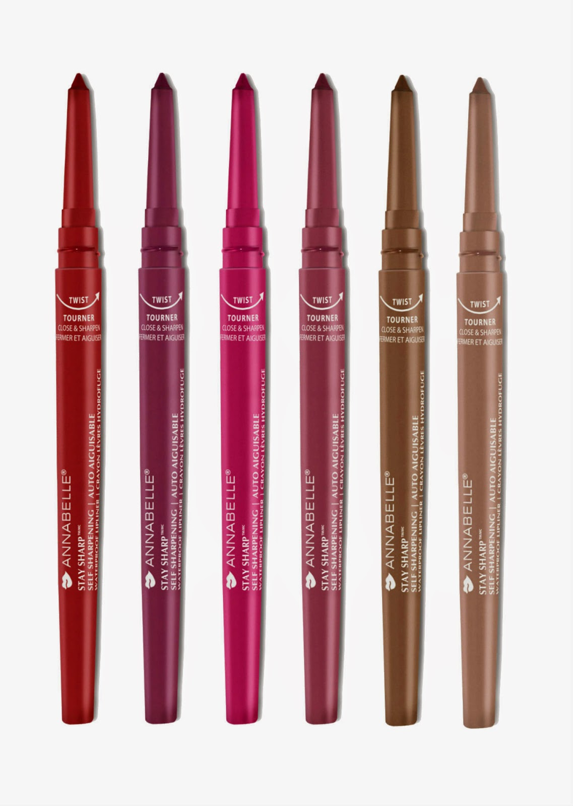 Annabelle Cosmetics Stay Sharp Waterproof Lipliner in Glam Red, Berry, Strike A Rose, Vintage, Java, Nude