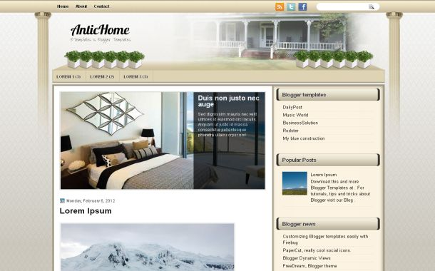 Free Antic Vintage Home Jquery Blogger Template