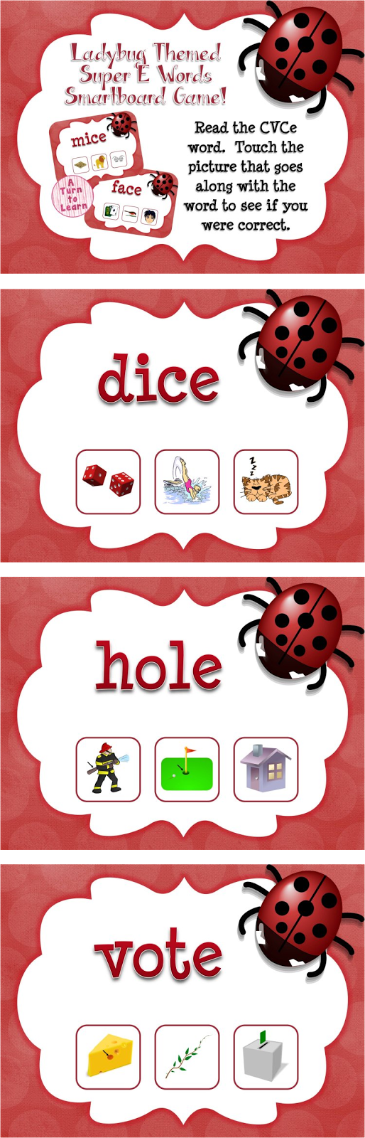 Ladybug Themed CVCe Words Game for Smartboard or Promethean Board!