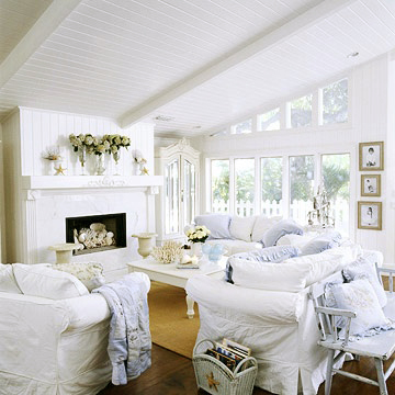 Whiteslipcovered Sofas And Chairs White Painted Beadboard Cane