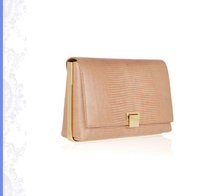 Grace Intemporelle: The Row, nude metal-framed lizard clutch