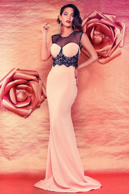 rochie lunga de seara roz
