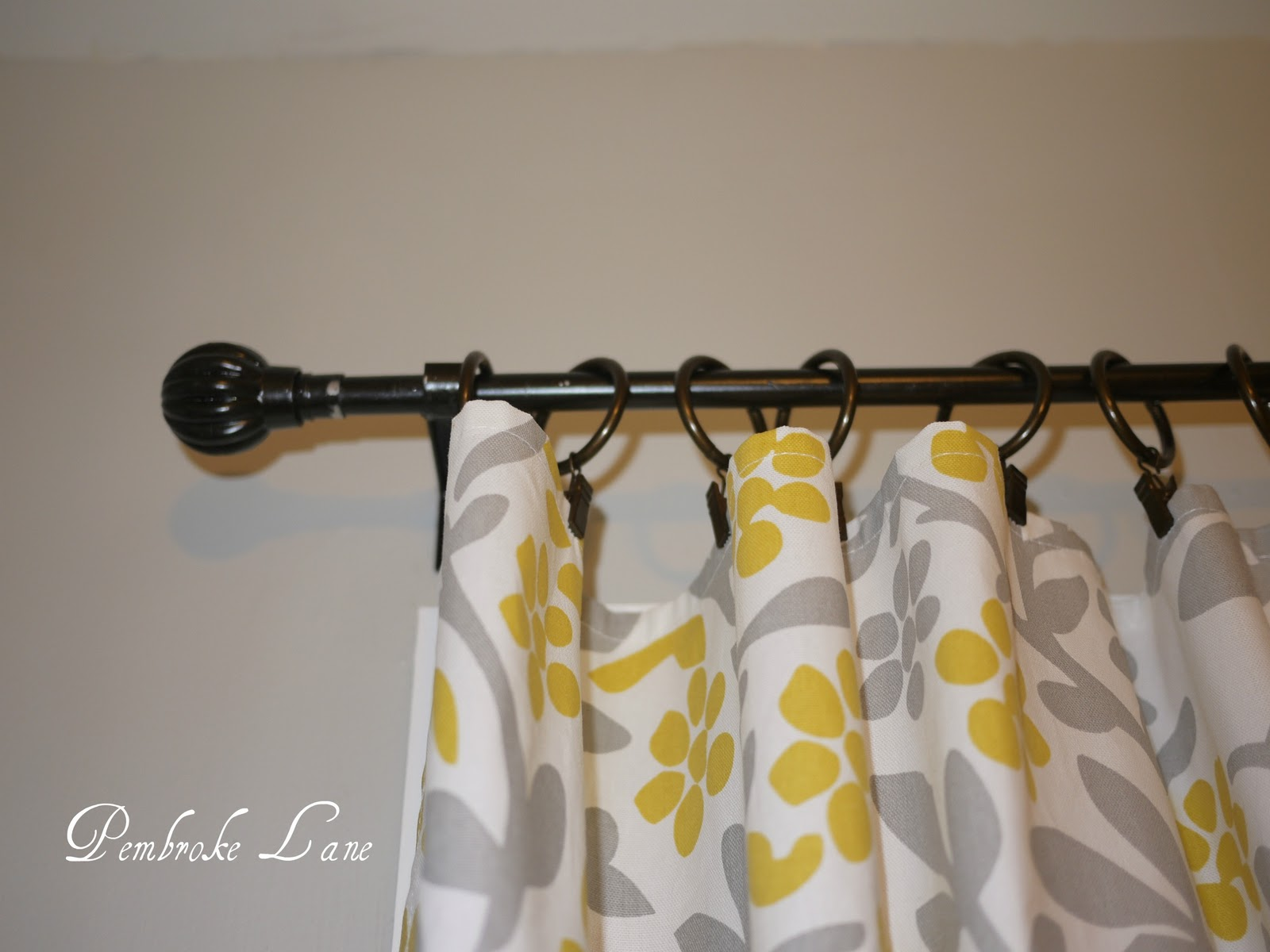 Spraypainting Curtain Rods and DIY Tablecloth into Curtains