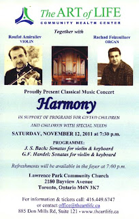 Harmony: Charity Concert Roufat Amiraliev - Violin and Rachad Feizoullaev - Organ, by The Art of Life Community Health Centre, Toronto, November 12, 2011
