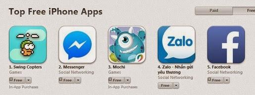 Swing Copters lên top App Store tại Việt Nam