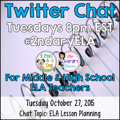 Join secondary English Language Arts teachers Tuesday evenings at 8 pm EST on Twitter. This week's chat will focus on lesson planning in the ELA classroom.