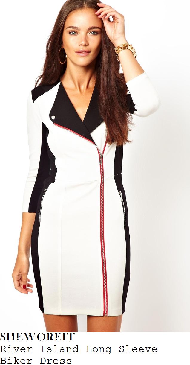 hannah-barrett-white-black-biker-zip-dress-x-factor