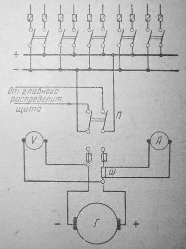 Схема распределительного щита аварийной электростанции