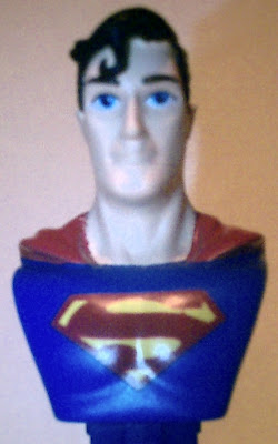 Close up of Superman bust PEZ face