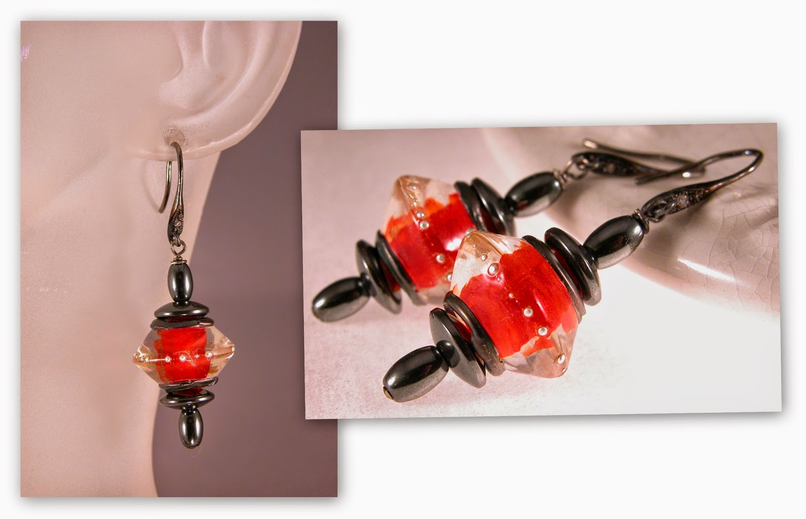 Scarlet Lantern - Artisan lampwork, hematite and black rhodium plated sterling silver