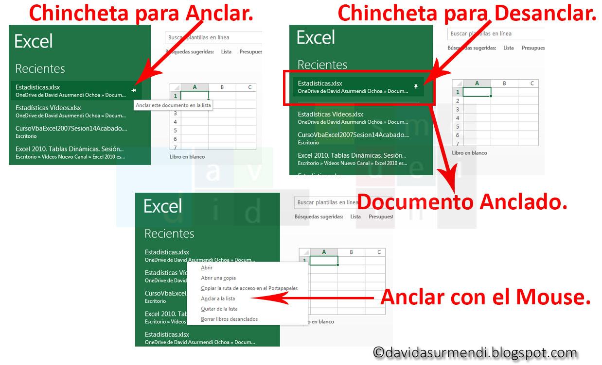 Opciones para Anclar y Desanclar Documentos.