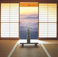 японский интерьер, японская перегородка, бумажные окна, татами, японский дом, комната
